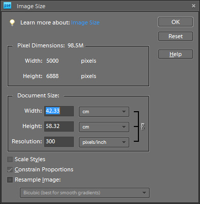 how to change pixel size in ps
