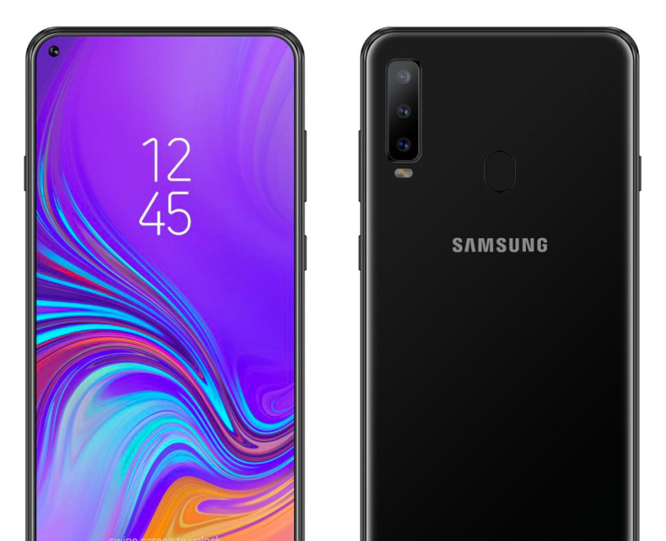 Samsung Galaxy A8s Front and Rear View